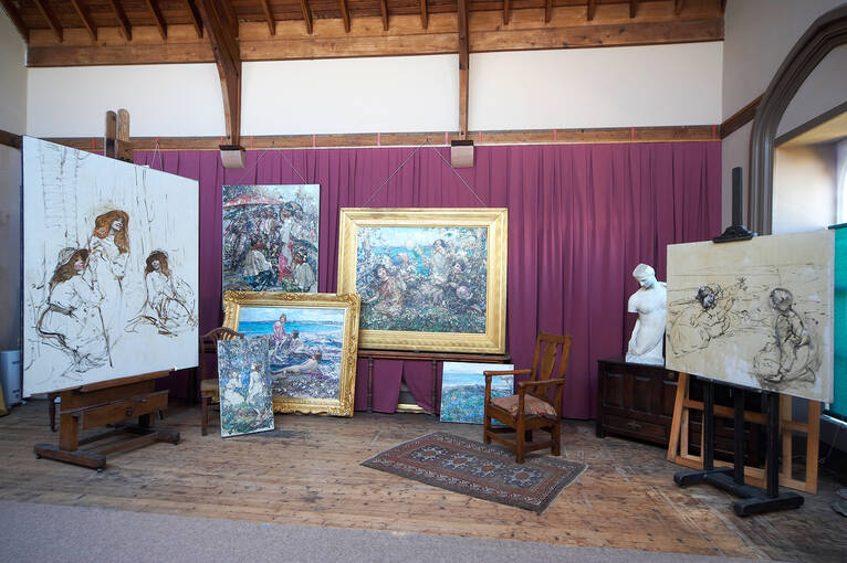 E A Hornel's artwork on display in the Studio