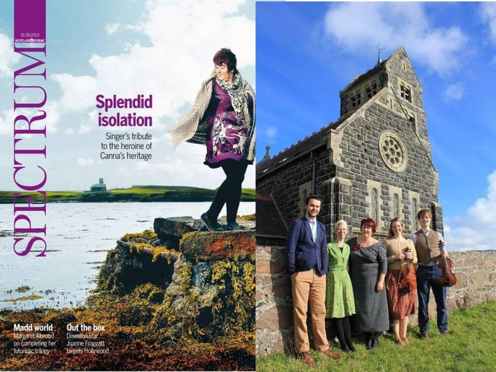 A colour montage image. On the left is the front cover of the supplement to Scotland on Sunday newspaper in 2013, featuring Fiona standing on a rock on Canna. To the right is a photograph of 5 people standing outside a chapel on Canna; Fiona is in the middle.