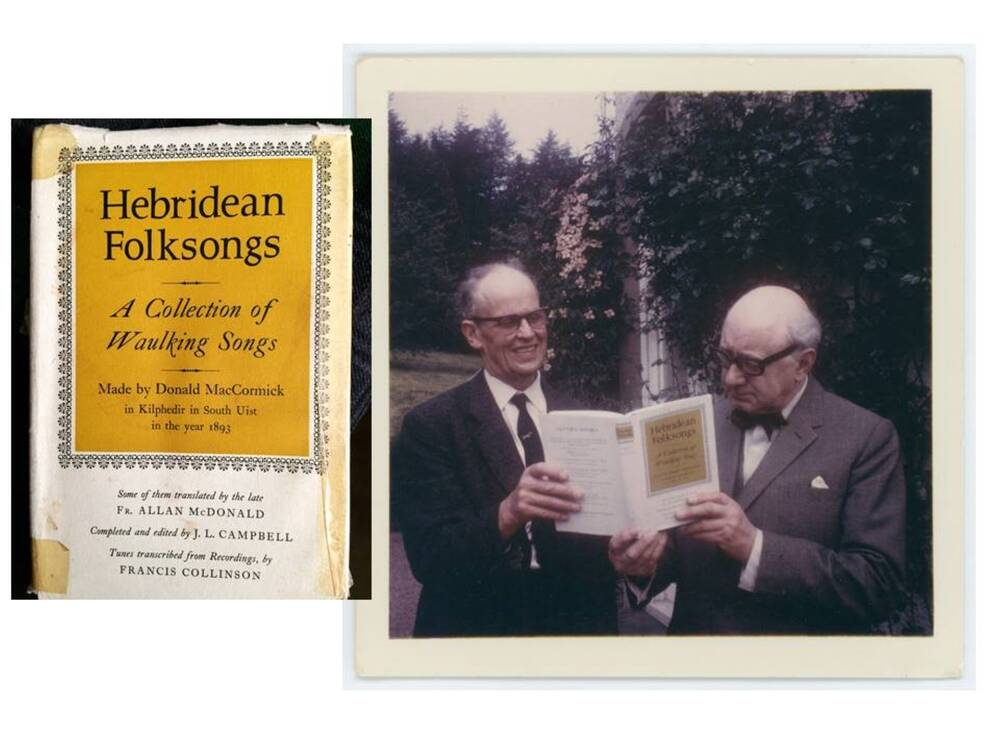 A montage of two photos. Inset on the left is the front cover of Hebridean Folksongs. The main photo on the right shows two older men holding a book between them. They are standing in a garden outside a house. Both are smartly dressed in suits.