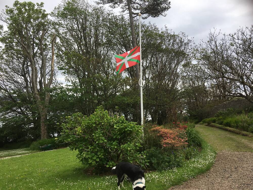 The Basque flag flies on a flagpole in a garden. A collie dog stands in the foreground.