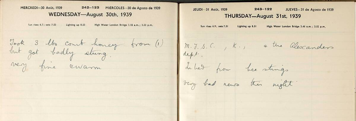 Extract from the Canna Farm diary, August 1939