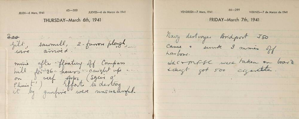 Extract from the Canna Farm diary, March 1941