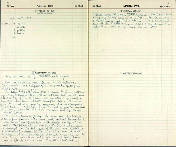 Extract from the Canna Lepidoptera diary, April 1956