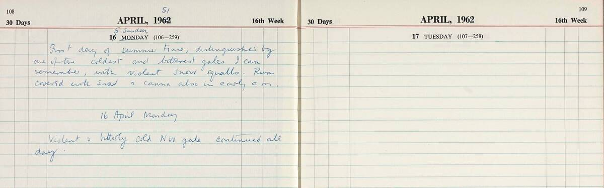 Extract from the Canna Lepidoptera diary, April 1951