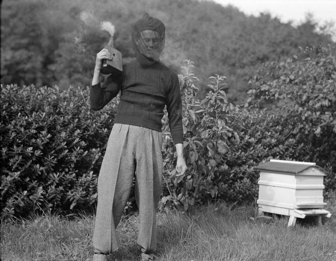 A black and white photograph of a man, wearing a bee-keeping veil and holding a smoker. He stands beside a white wooden beehive.