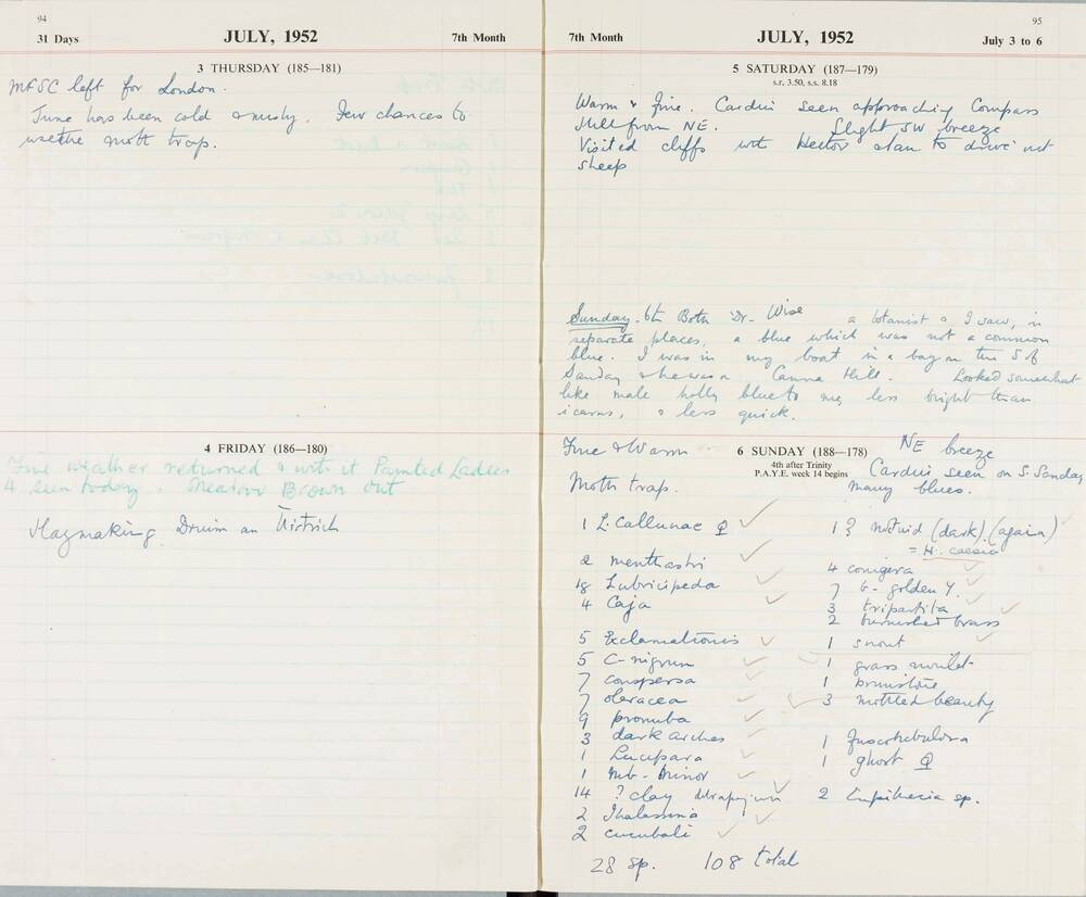 Extract from the Canna 'Lepidoptera' diary, July 1952
