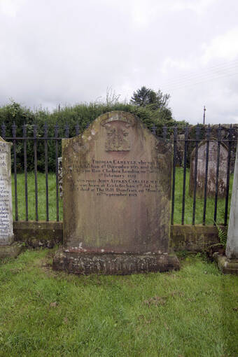 Thomas Carlyle's gravestone in the graveyard at Ecclefechan
