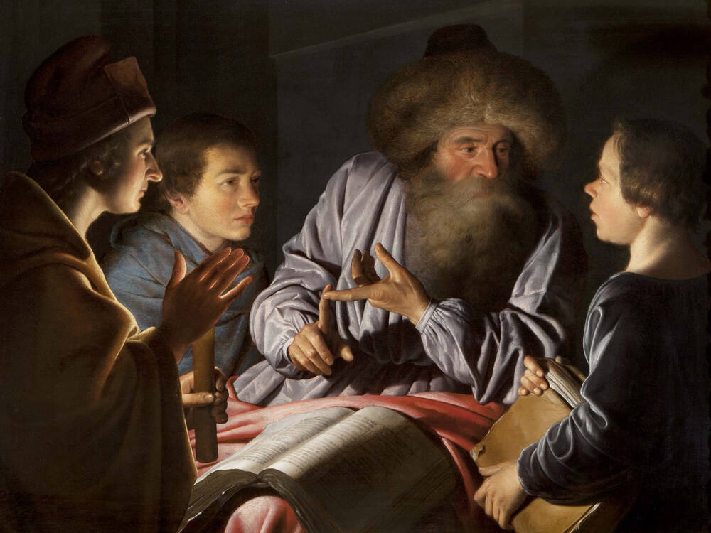 A painting of a philosopher talking to his pupils