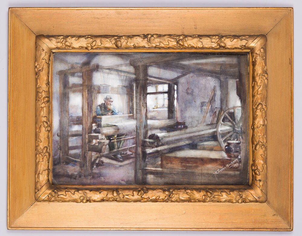 A watercolour of a man sitting at a large weaving loom. The artist signature is in the bottom right corner. It is framed by a wide gilt frame.