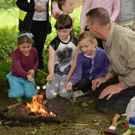 Children enjoying campfire