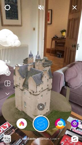The new Craigievar Castle Instagram AR filter sits in the middle of a living room