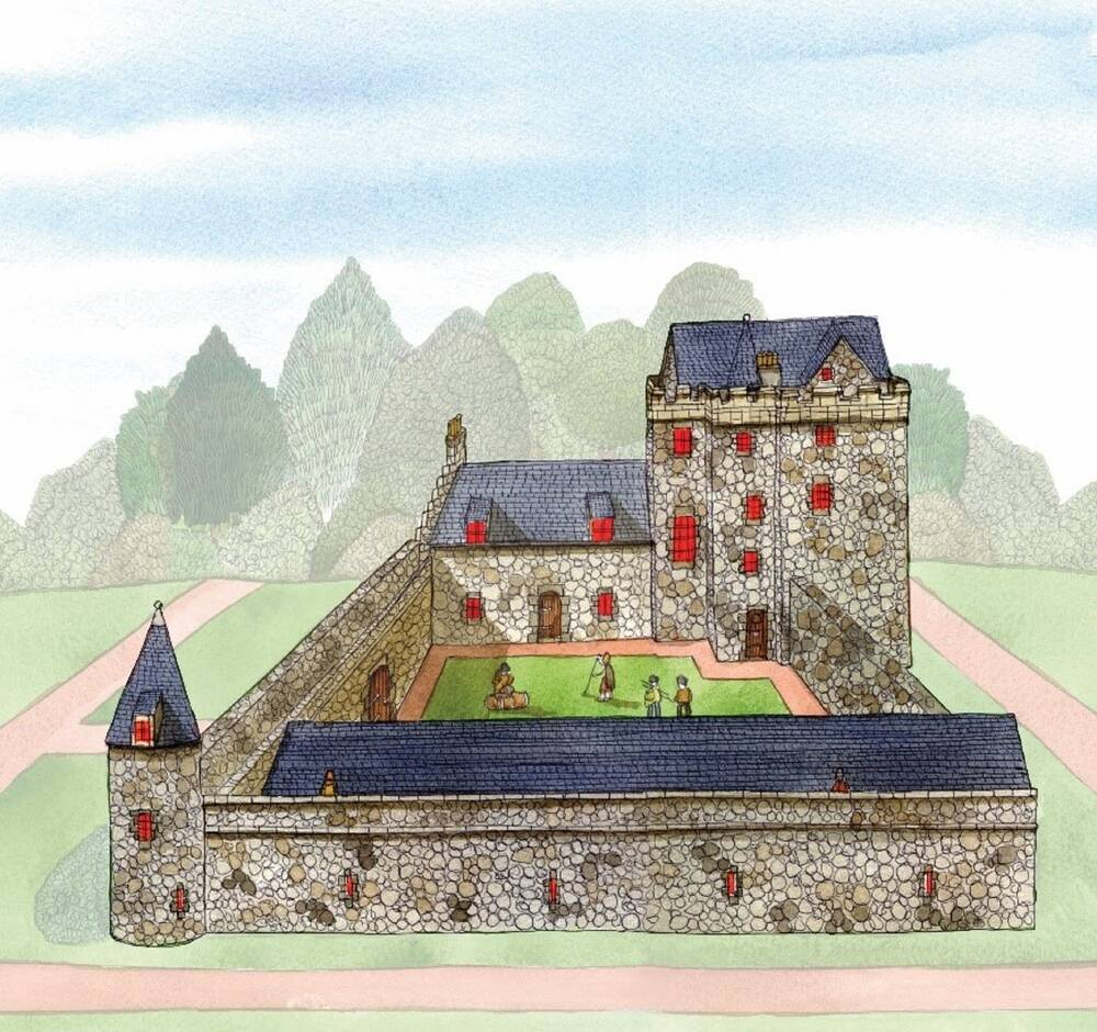 A coloured illustration of a stone tower house, with a large walled courtyard attached in the foreground. Figures are shown on the lawn inside the courtyard. The roofs of the tower and courtyard buildings are shown as made from dark slate tiles.