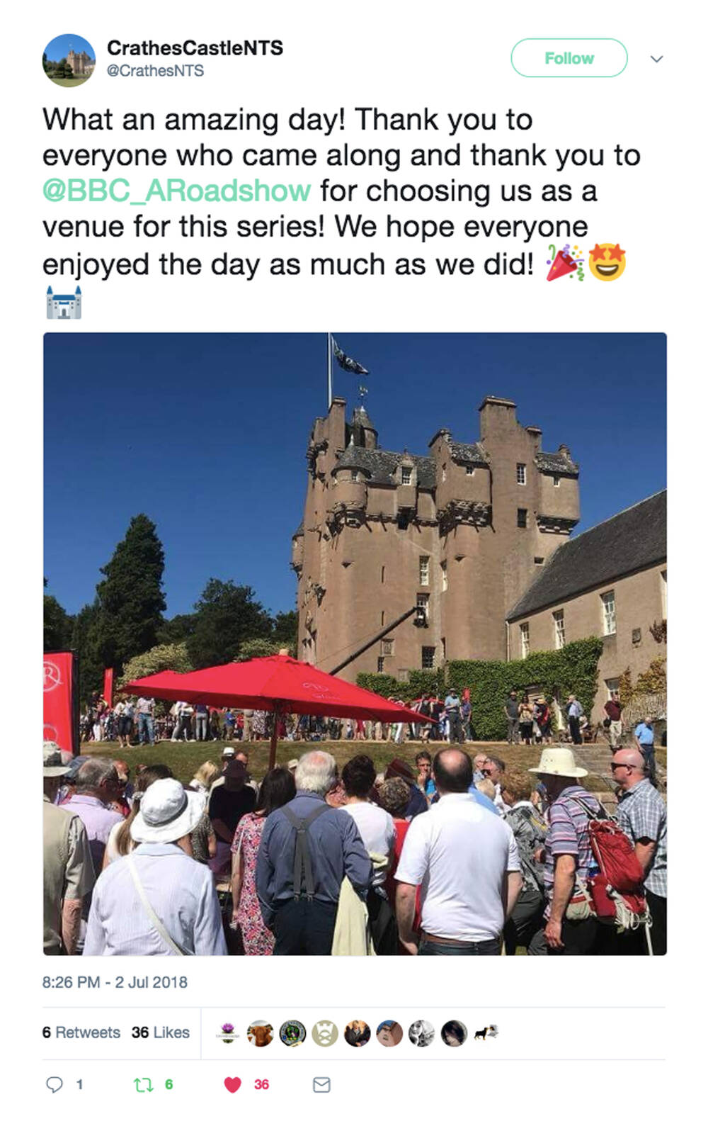 Tweet from Crathes Castle during filming of Antiques Roadshow