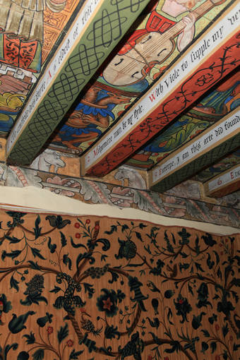 Striking painted ceiling of Muse's Room in Crathes Castle