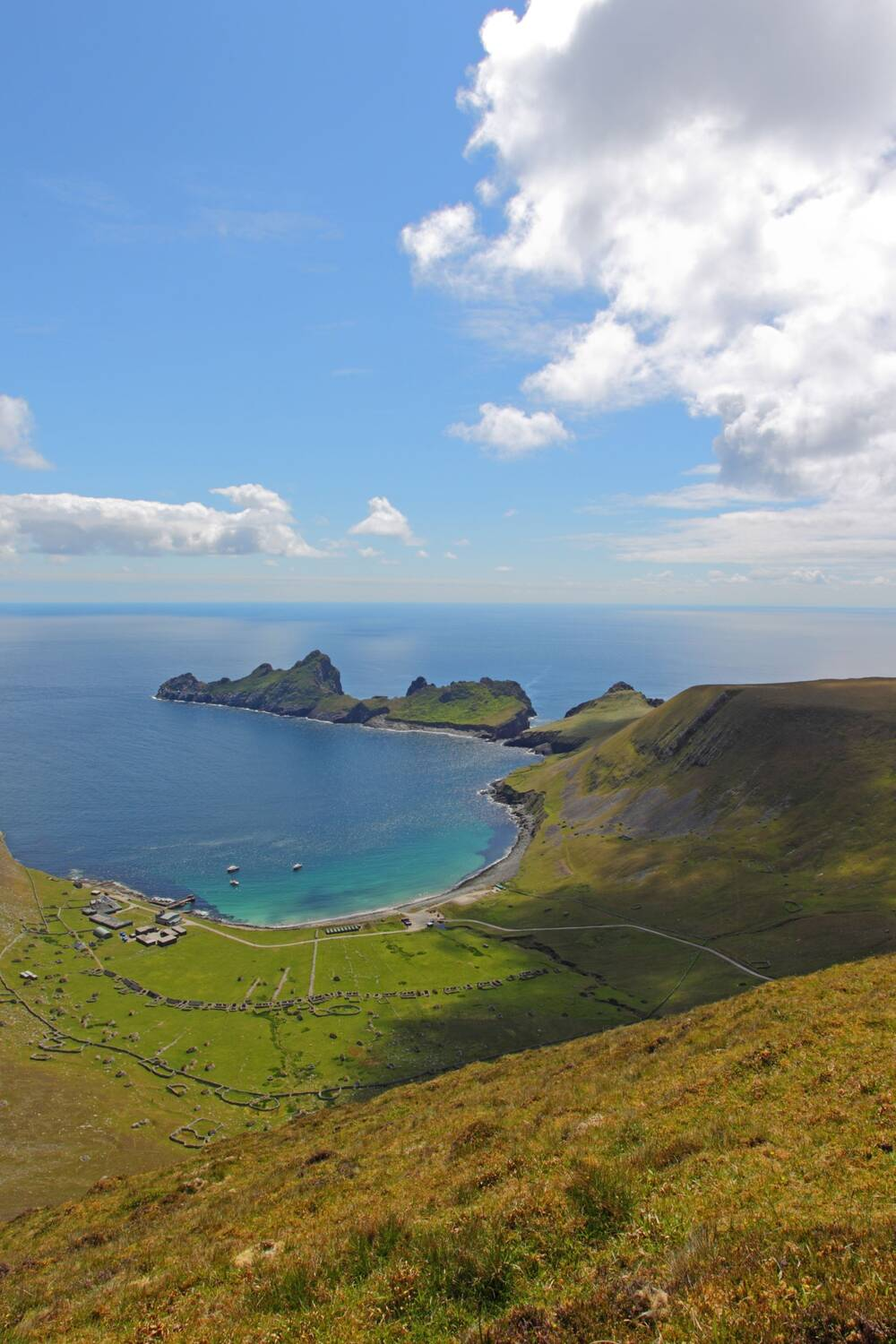 Looking down on Village Bay in St Kilda, seen from the steep hillside on Hirta.