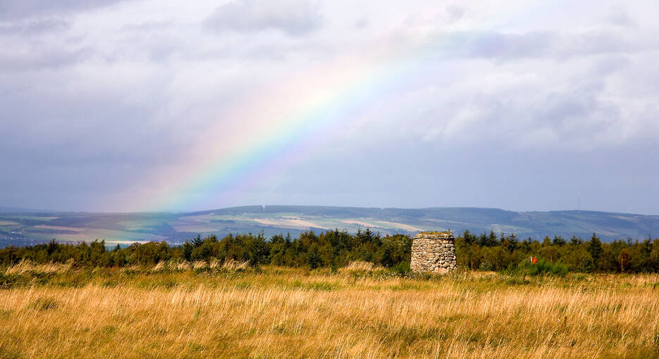 The 6m-high memorial cairn, honouring the fallen, on the windswept battlefield of Culloden.