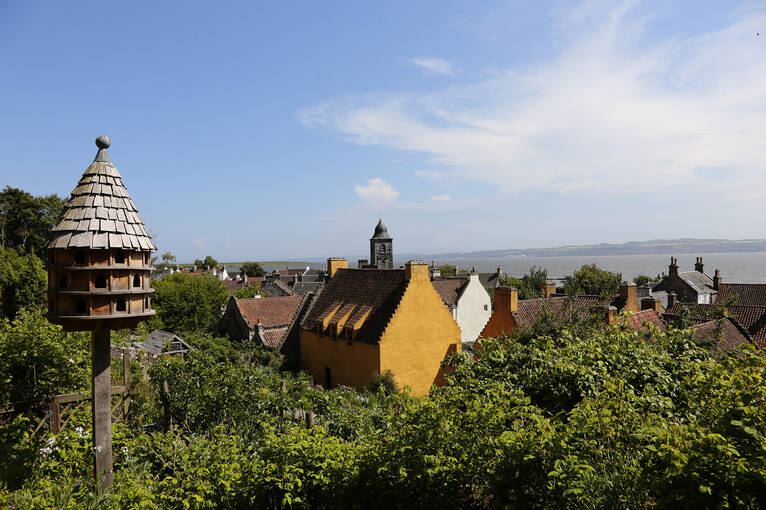 A view from the garden across the town of Culross and the Firth of Forth
