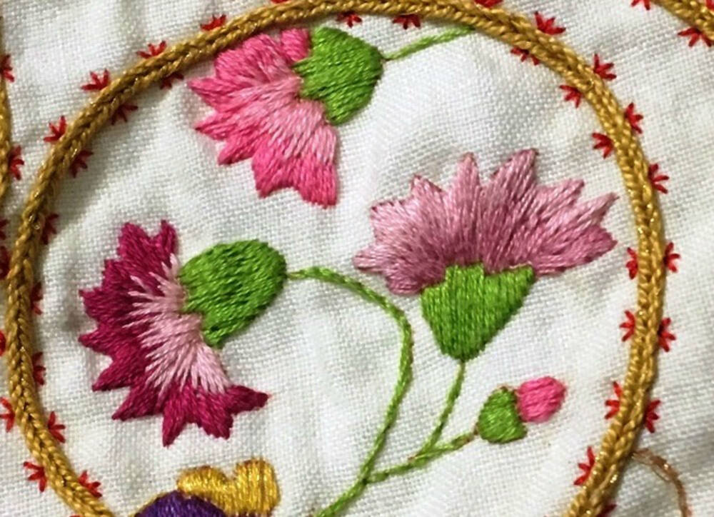 Detail of the Culross jacket showing pink floral details