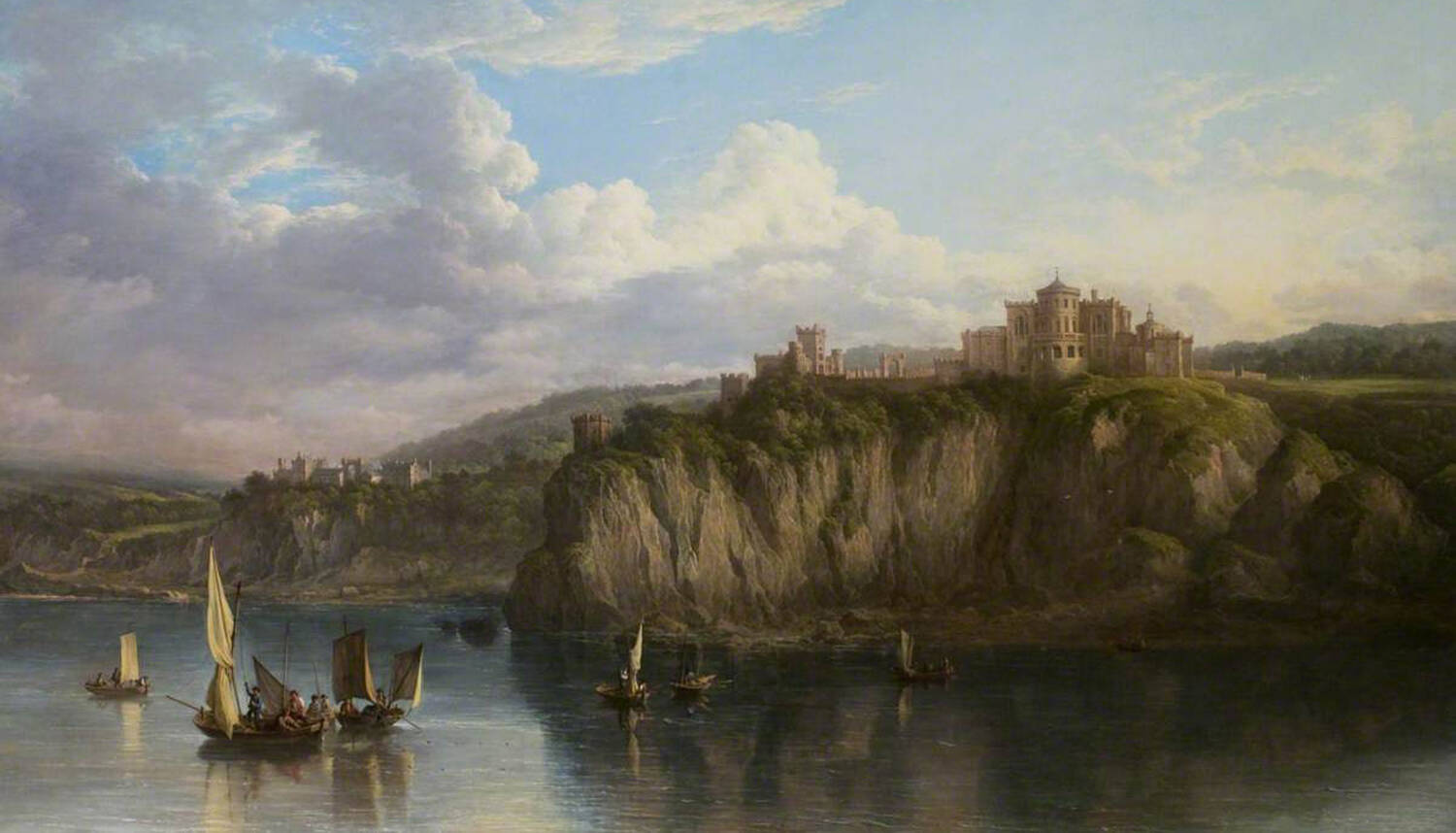 An oil painting of Culzean Castle, seen from the sea. A number of small sailing boats are on the smooth water in the foreground.