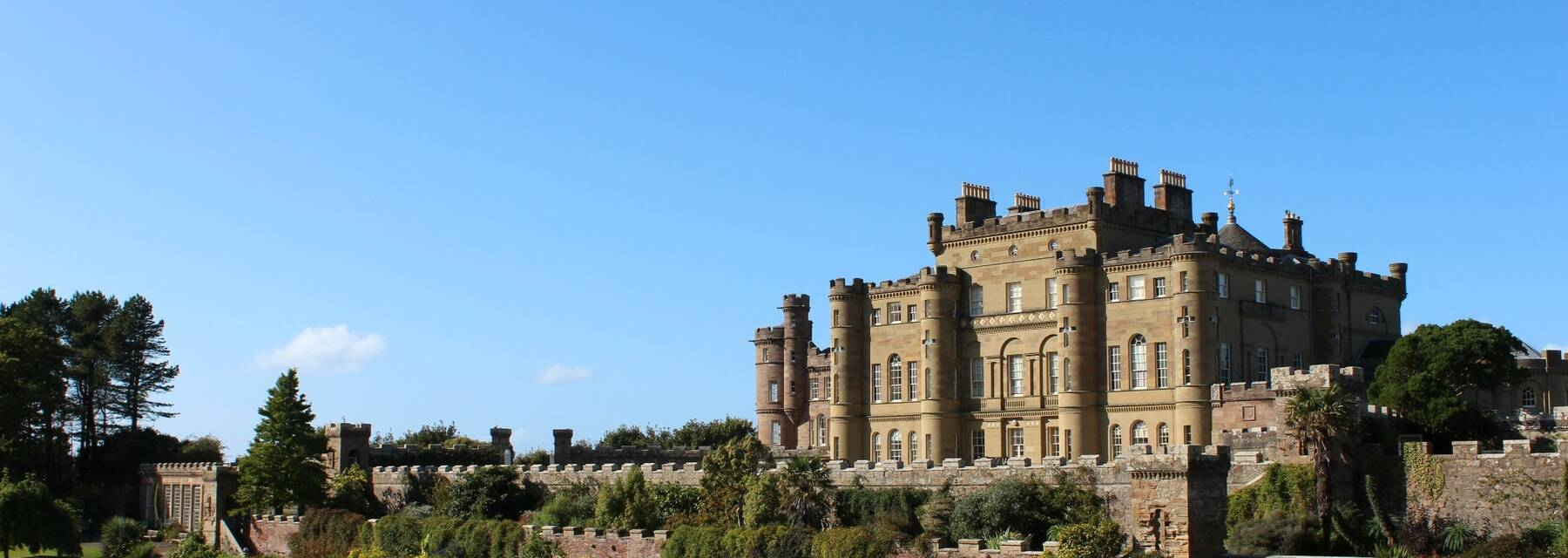 Culzean Castle from the Fountain Court on a bright sunny day with not a cloud in the sky.