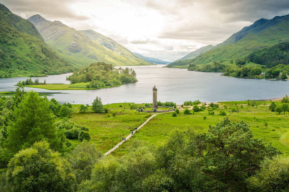A view of Glenfinnan Monument and across Loch Shiel
