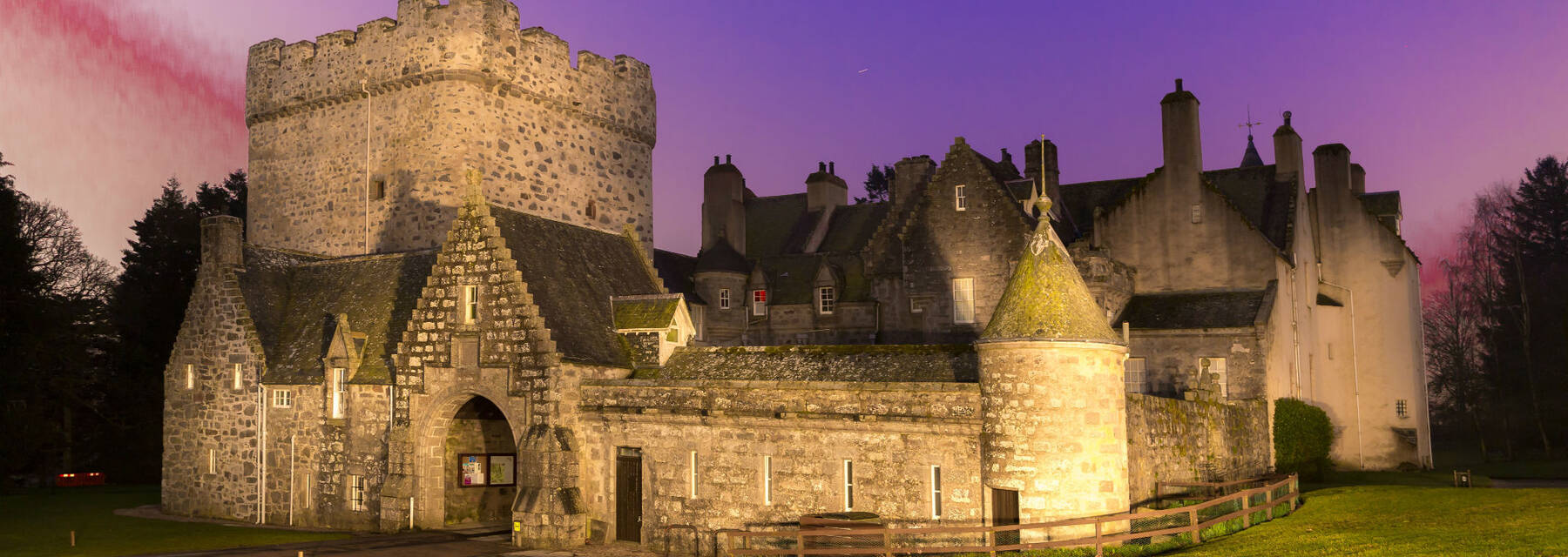 Drum Castle lit up at night