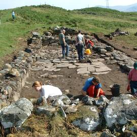 Archaeologists excavating the byre dwelling at Kiltyrie