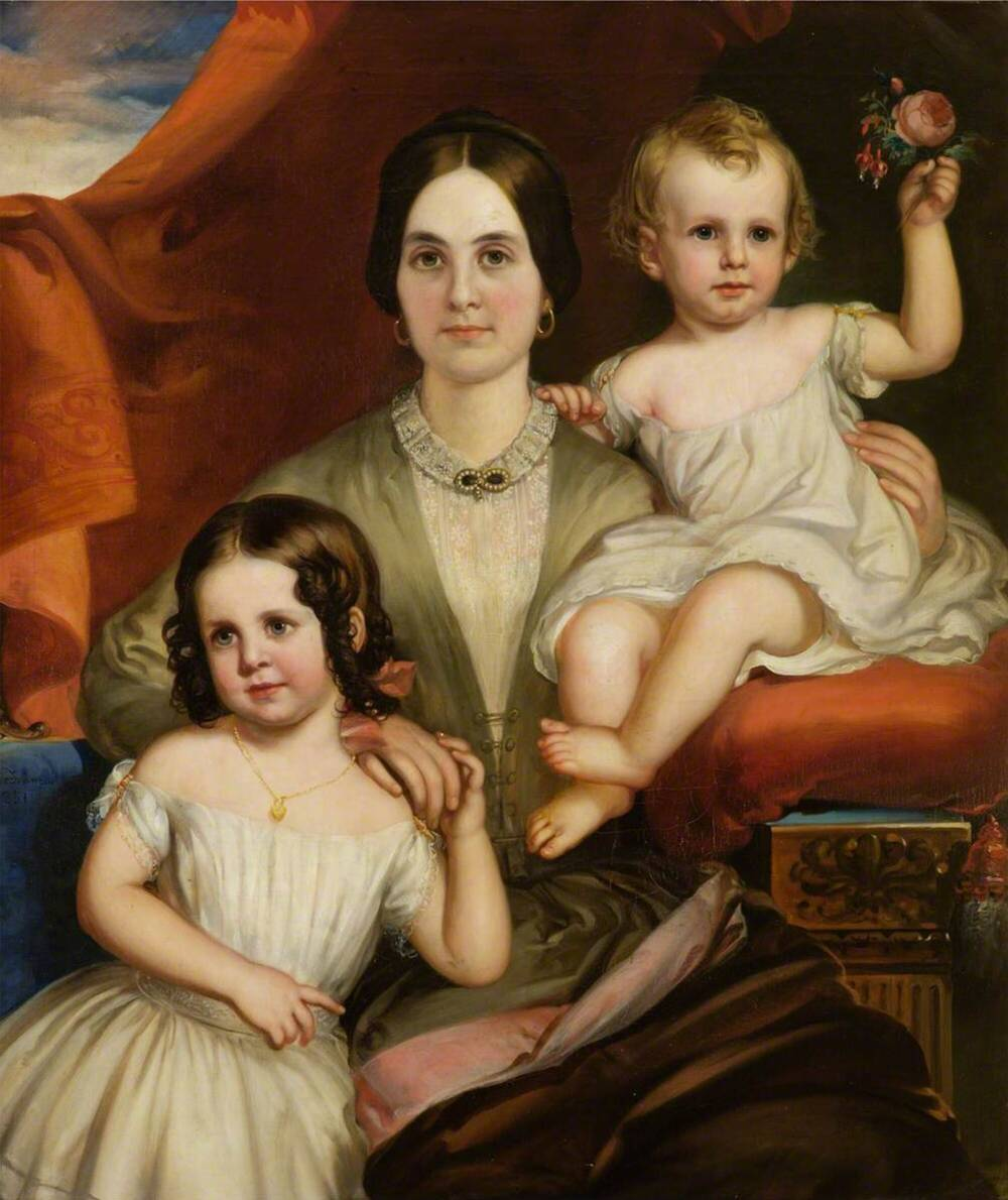 Painting of a woman with two children either side of her. They are all wearing light-coloured clothes.