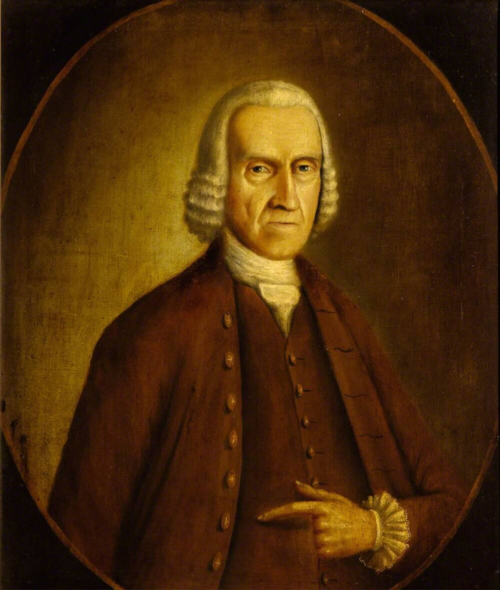 Portrait of John Ross of Arnage. He is wearing a mid-length white wig.