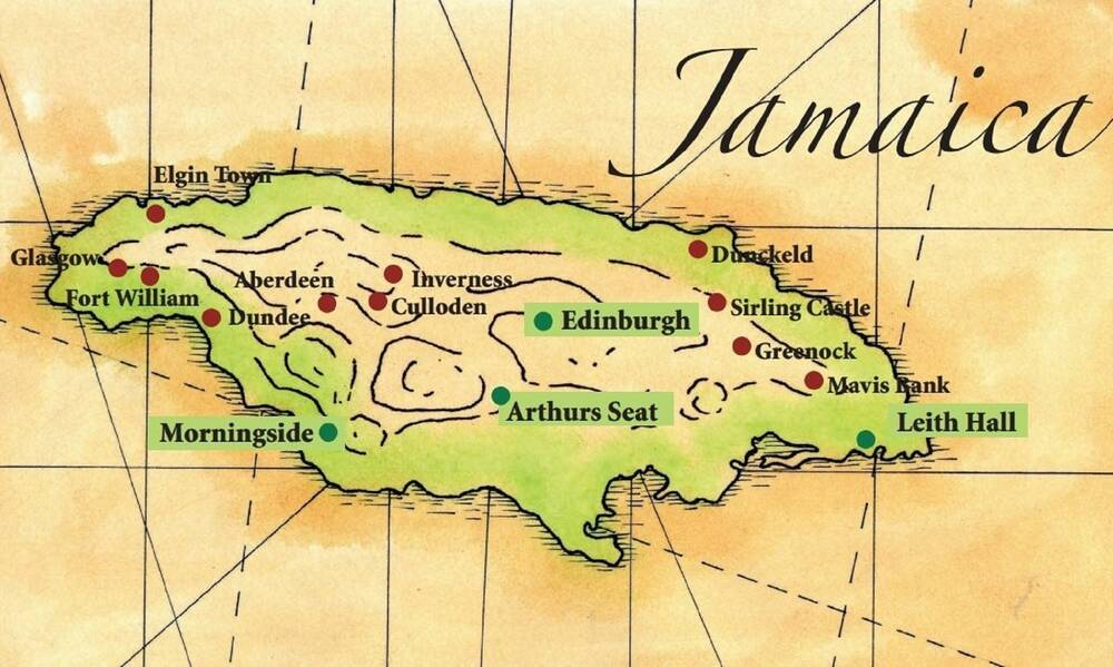 A simple map of the island of Jamaica, with various places labelled. All the place names have a Scottish connection.