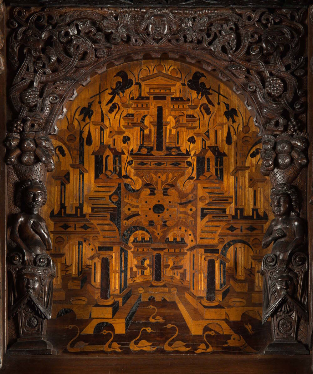 The detailed marquetry image, created from ebony and fruitwood