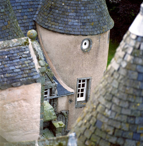 Close-up of the Castle Fraser towers