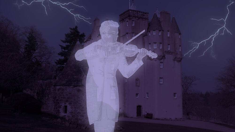 Ghost of fiddle player at Craigievar Castle