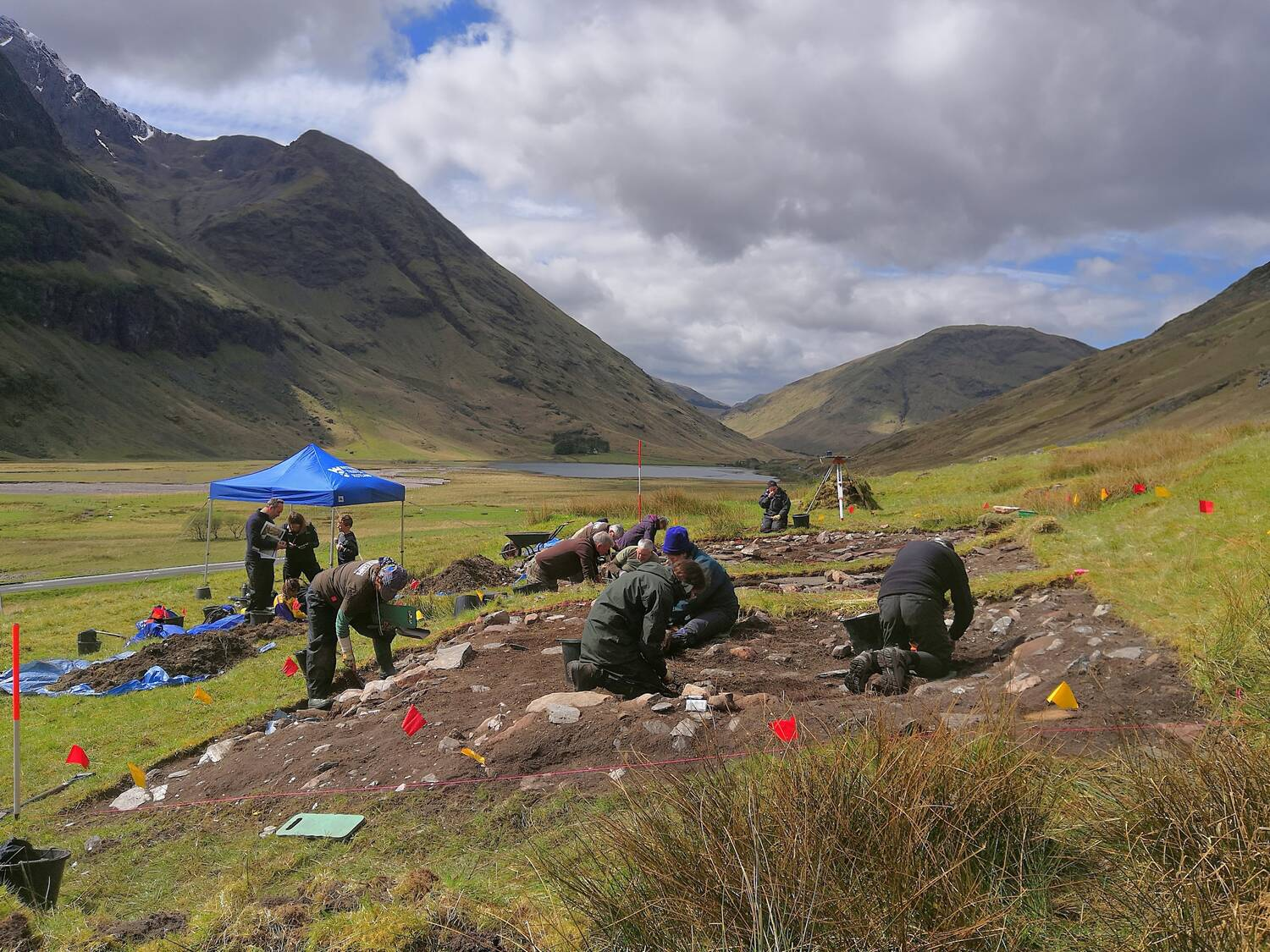 Archaeologists investigating the site of a traditional building in Glencoe.