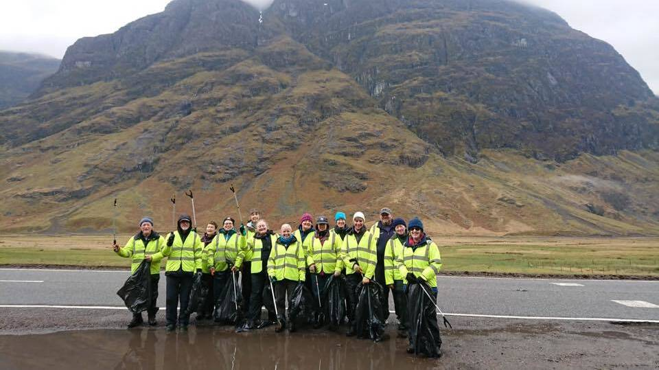 Glasgow Conservation Volunteers litter picking on the A82 at Glencoe