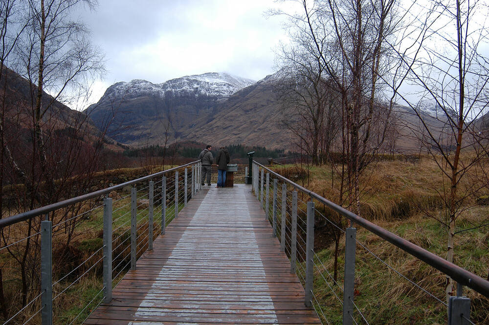 A view of the mountains from the Glencoe Visitor Centre viewing platform