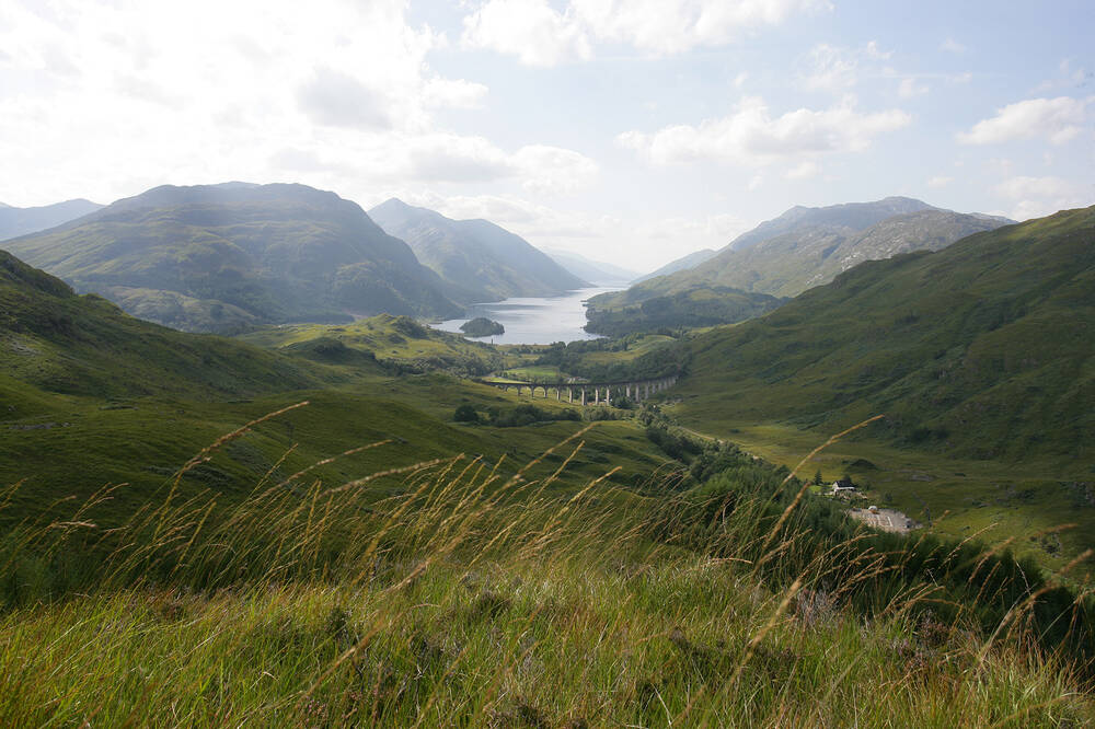 Looking down towards Glenfinnan Viaduct and Loch Shiel