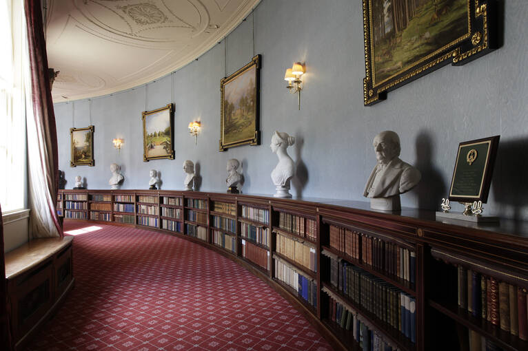 Paintings, busts and books line the Quadrant in Haddo House