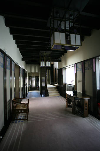 Mackintosh's designs are found throughout the Hill House, including the hall