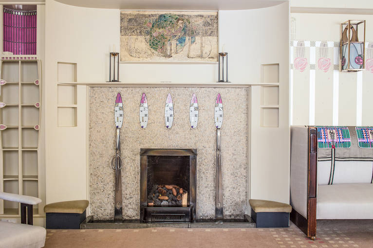 Margaret Macdonald's 'Sleeping Beauty' design above the Hill House drawing room fireplace