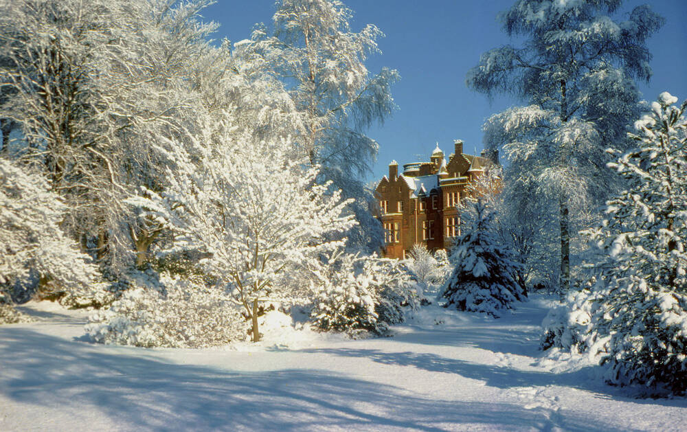 Threave House seen from Threave Garden after heavy snow.