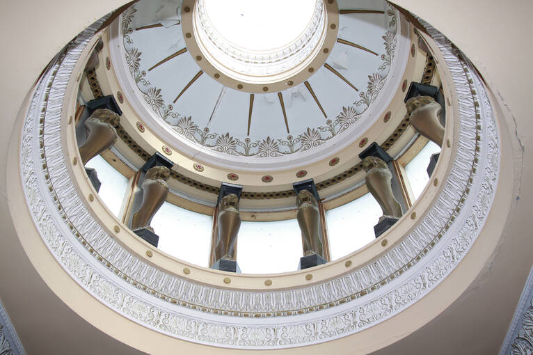 The beautifully ornate cupola above the main staircase in Holmwood