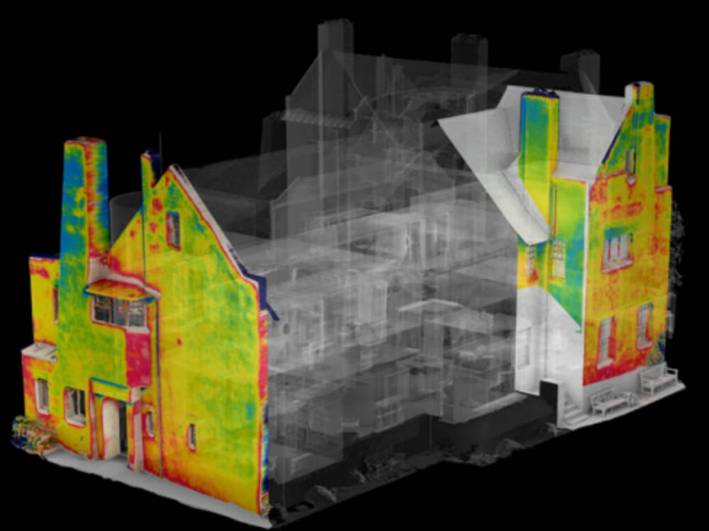 A digital model of the Hill House, showing a heat map