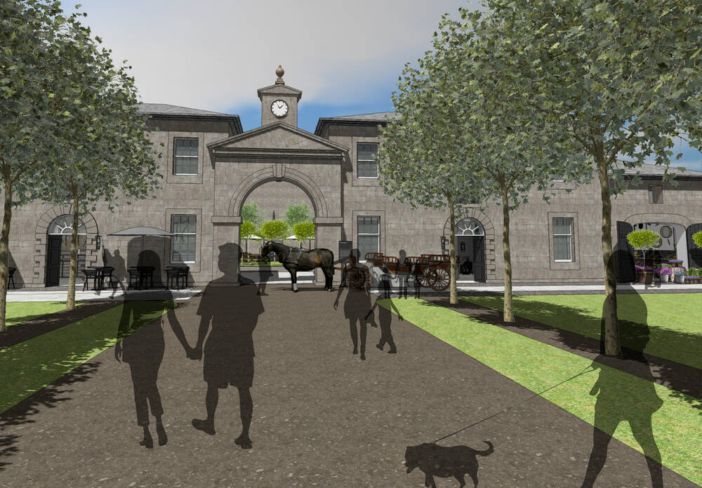 An artist's impression of the stables and courtyard, with silhouettes of people walking up the path, and a horse and cart standing by the archway.