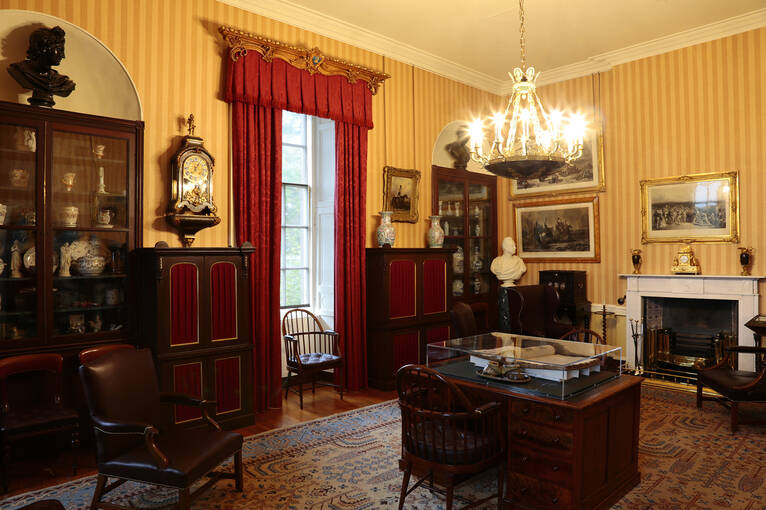 The House of Dun study, filled with furniture and artefacts