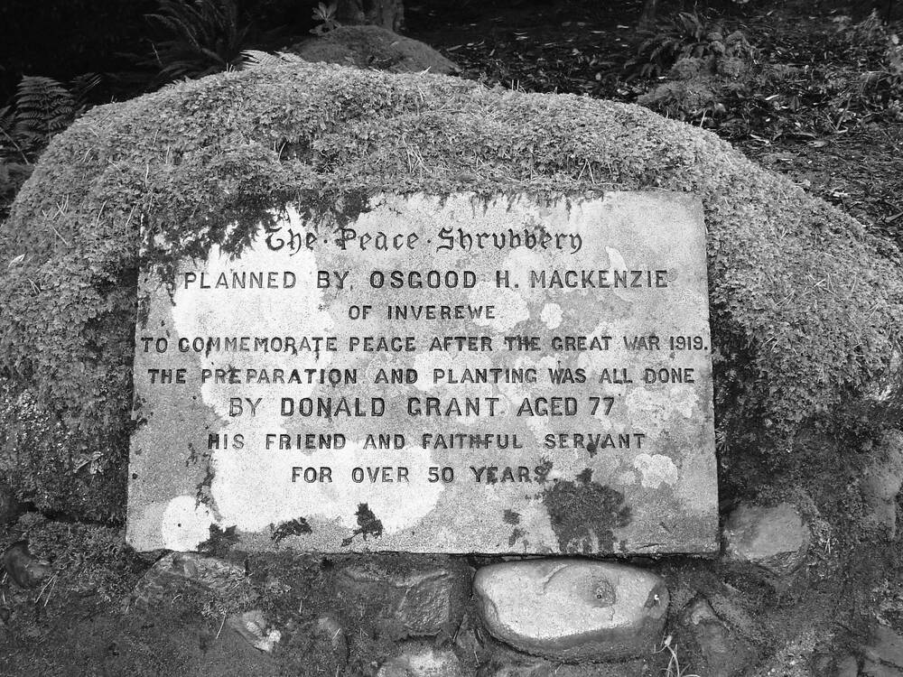 The Peace Stone: dedicated by Osgood Mackenzie to recognise the peace-making after the Great War.