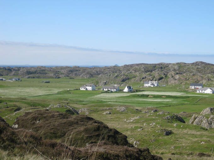 A sunny landscape view of Iona