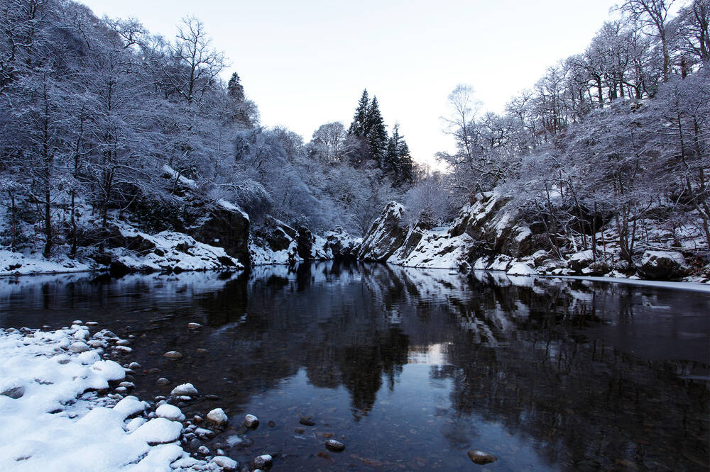 The Pass of Killiecrankie in winter.