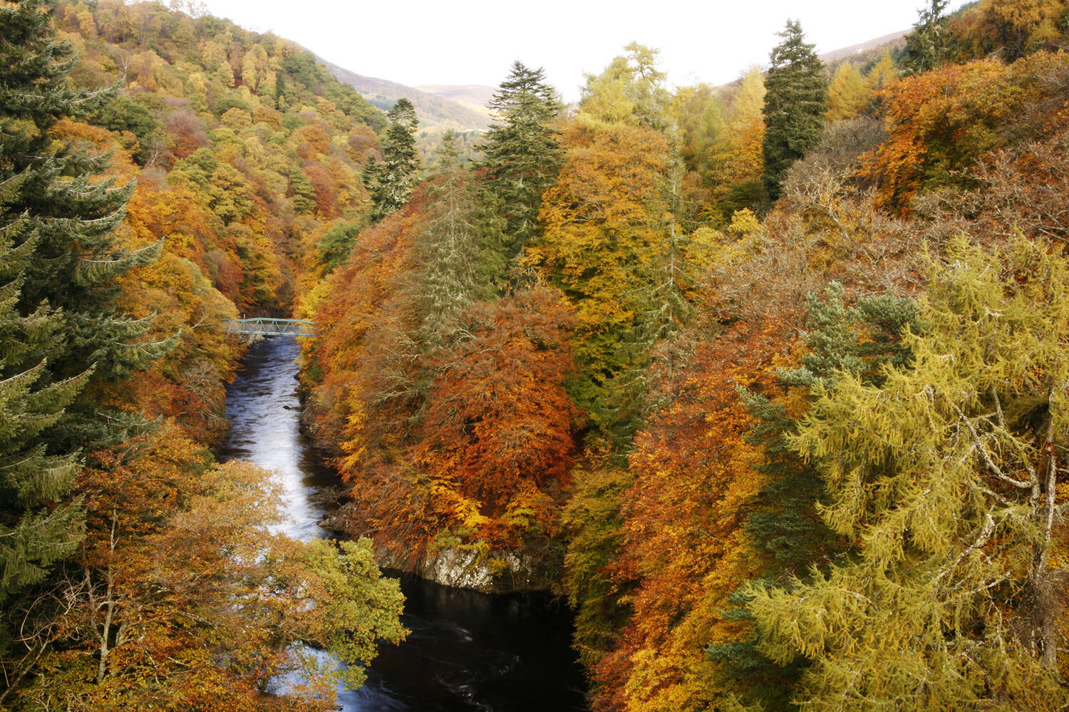 An aerial colour photograph of Killiecrankie in autumn, showing the trees in their autumn colours. The rivers runs through the centre of the image, with the footbridge in the distance.