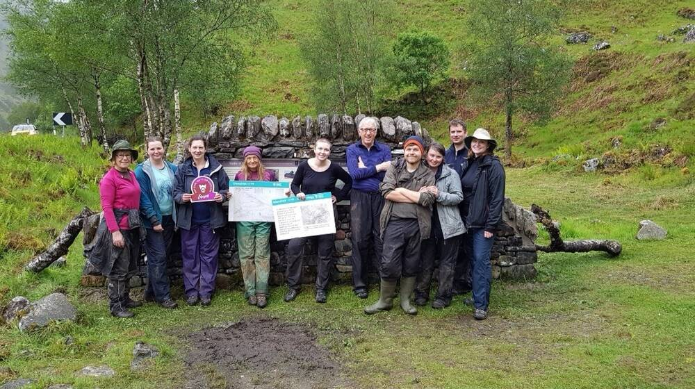 Team photo of the Thistle Camp volunteers at Glenshiel